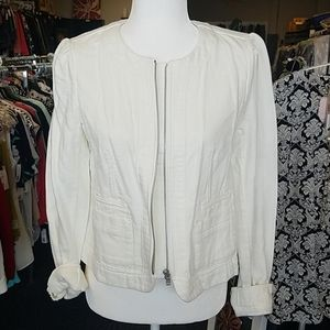 NWT LOFT Cotton Off White Beige Light Jacket sz 2